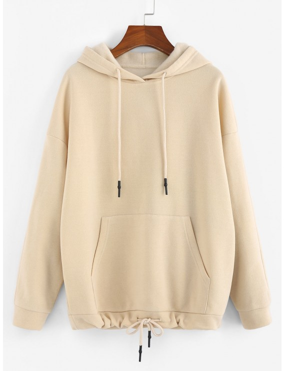 Kangaroo Pocket Drop Shoulder Drawstring Hoodie - Beige S