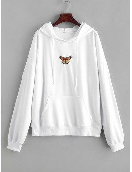 Butterfly Embroidered Front Pocket Drawstring Hoodie - White M