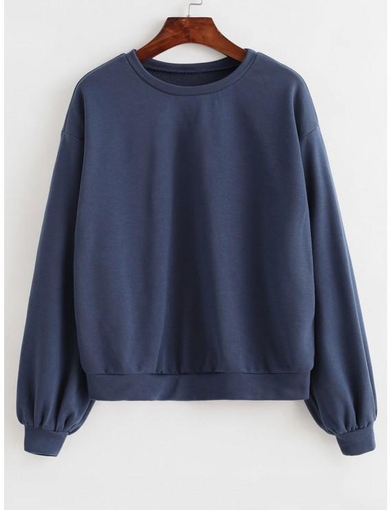 Basic French Terry Sweatshirt - Slate Blue M