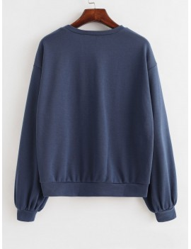Basic French Terry Sweatshirt - Slate Blue M