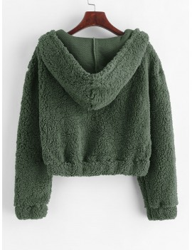 Plain Fluffy Faux Shearling Teddy Hoodie - Camouflage Green S