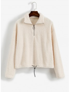 O-ring Zip Drop Shoulder Fuzzy Sweatshirt - Warm White M