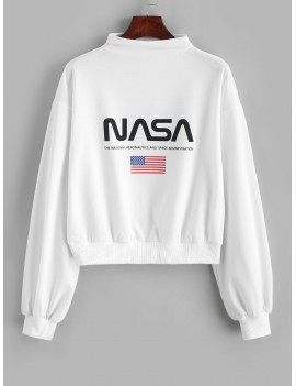 Mock Neck Drop Shoulder American Flag Sweatshirt - White S