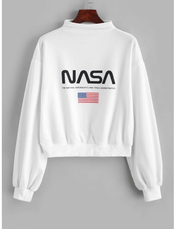 Mock Neck Drop Shoulder American Flag Sweatshirt - White S