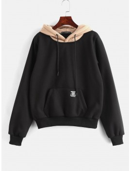 Pouch Pocket Fleece Pullover Hoodie - Black M