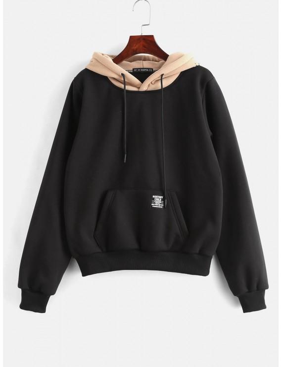 Pouch Pocket Fleece Pullover Hoodie - Black M