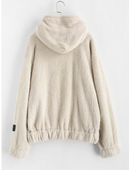 Drawstring Front Pocket Fluffy Faux Shearling Hoodie - Blonde L