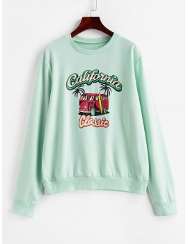 Car Letter Graphic Loose Sweatshirt - Green M