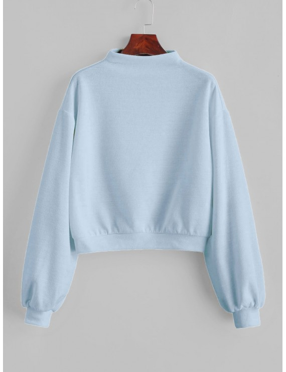 Pullover Mock Neck Plain Sweatshirt - Light Blue S