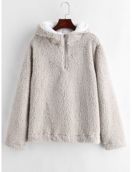 Faux Fur Zipped Fluffy Hoodie - Gray Goose S