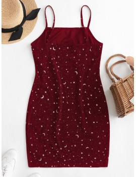 Moon And Star Metallic Thread Cami Slit Dress - Red Wine M