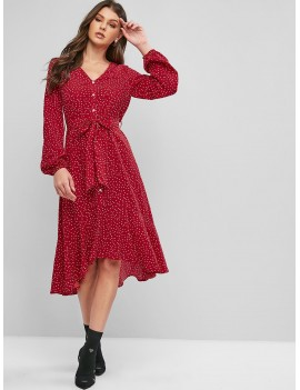Buttons Printed Belted High Low Dress - Lava Red S