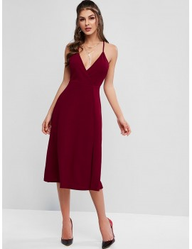 Plunging Cutout Back Midi Slit Party Dress - Chestnut M