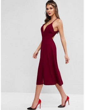 Plunging Cutout Back Midi Slit Party Dress - Chestnut M