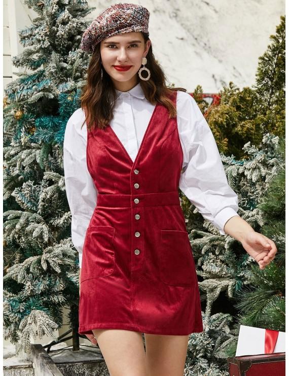 Half Buttoned Pockets Christmas Corduroy Mini Dress - Red Wine M