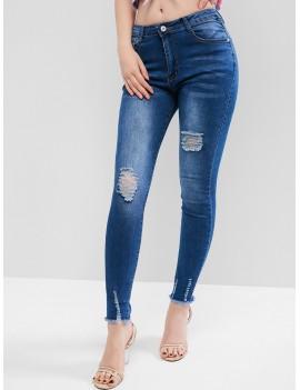 Frayed Hem Ripped Zipper Fly Jeans - Denim Blue M