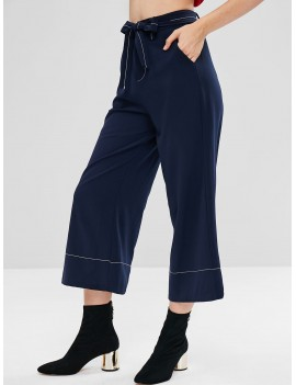Belted Capri Wide Leg Pants - Midnight Blue L
