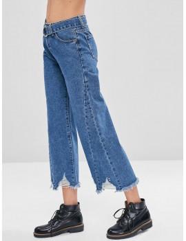 Frayed Hem Belted Ripped Jeans - Denim Dark Blue L