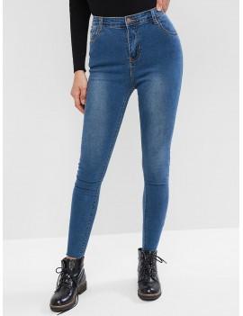 High Waisted Bleach Wash Raw Hem Skinny Jeans - Denim Blue M