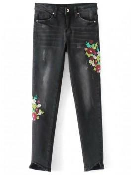 Frayed Floral Embroidered Skinny Jeans - Black M