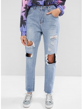 Ripped Cut Out Frayed Hem Jeans - Denim Blue S
