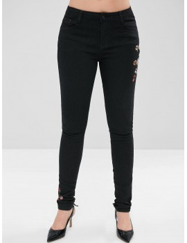 Flower Embroidery Pencil Jeans - Black S