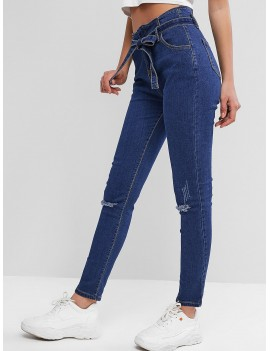 Distressed Belted Paperbag Pencil Jeans - Blue M