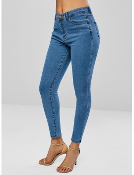Skinny Zipper Fly Jeans - Denim Blue M