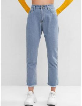 High Waisted Stars Frayed Hem Straight Jeans - Blue S