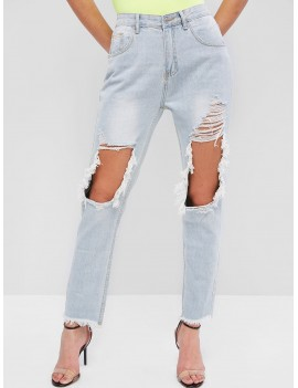 Light Wash Ripped Frayed Cutout Pencil Jeans - Denim Blue S