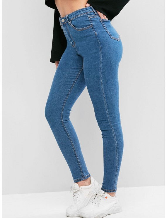 Pockets Solid Skinny Jeans - Jeans Blue M