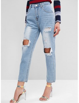 Distressed Light Wash Boyfriend Jeans - Jeans Blue L