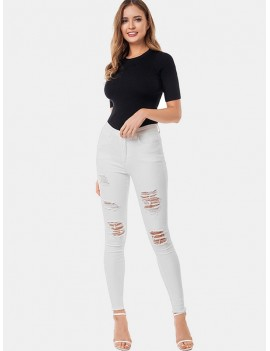 Distressed Skinny Frayed Hem Jeans - White M