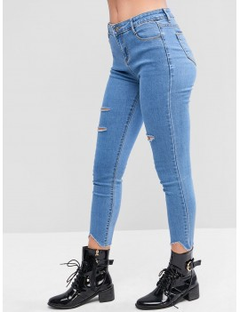 Distressed Raw Hem Skinny Jeans - Jeans Blue S