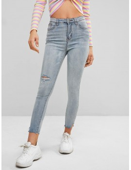 Ripped Light Wash Skinny Jeans - Blue M