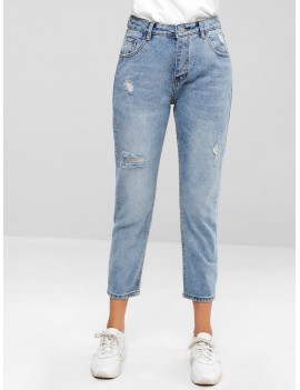 Distressed Five Pockets Jeans - Jeans Blue S