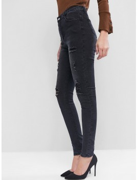 High Waisted Destroyed Tapered Jeans - Black S