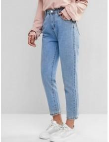 Basic Mom Jeans - Blue Xs