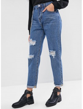 Chains Embellished Ripped Cuffed Jeans - Denim Blue S