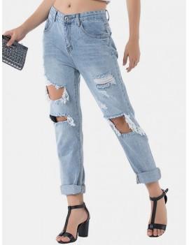Distressed Raw Hem Boyfriend Jeans - Denim Blue S