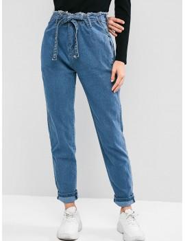 Frayed High Waisted Pocket Tie Mom Jeans - Denim Blue S