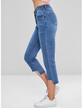 Frayed High Low Ninth Jeans - Denim Blue S