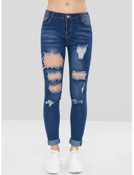 Distressed Holes Low Rise Jeans - Deep Blue M