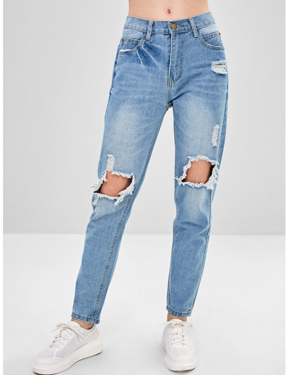 Destroyed Boyfriend Jeans - Light Blue S