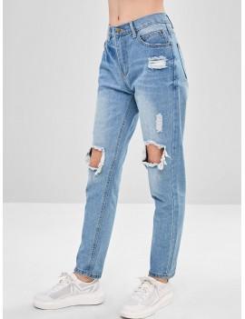 Destroyed Boyfriend Jeans - Light Blue S
