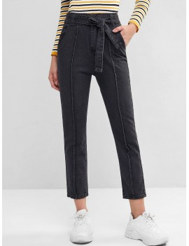High Waisted Belted Pockets Straight Jeans - Black Xs