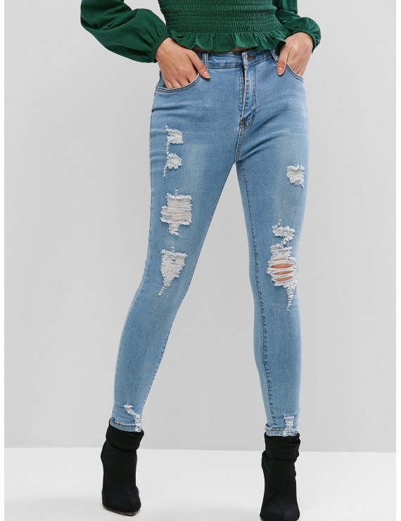 Distressed  Skinny Jeans - Jeans Blue S