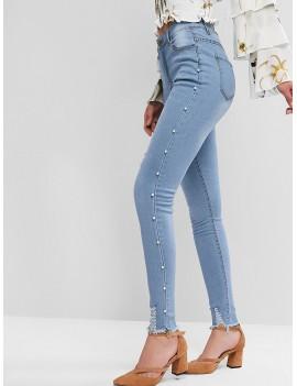 Faux Pearl Trim Distressed Frayed Hem Pencil Jeans - Blue Ivy M