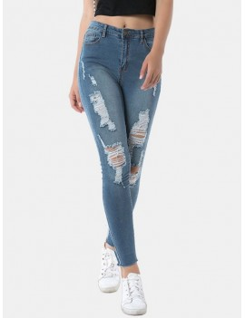 Frayed Hem Distressed Skinny Jeans - Jeans Blue S