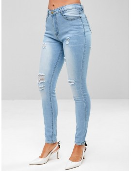 Distressed Light Wash Skinny Jeans - Denim Blue S